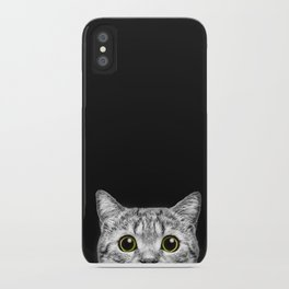 Curious Cat Peeking, Sneaky Kitty, Kitty Photography, Cat, Cats iPhone Case