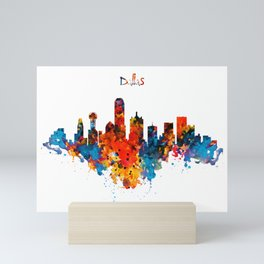 Dallas Watercolor Skyline Mini Art Print