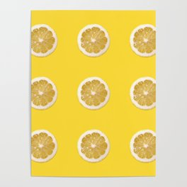 Cropped lemon pattern on yellow background Poster