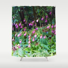 Wild Orchid Lady Slipper Forest Flowers Found in Rhode Island Shower Curtain