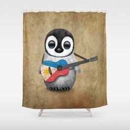 Baby Penguin Playing Filipino Flag Acoustic Guitar Shower Curtain