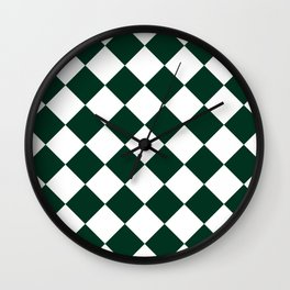 Large Diamonds - White and Deep Green Wall Clock