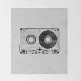 Vintage 80's Cassette - Black and White Retro Eighties Technology Art Print Wall Decor from 1980's Throw Blanket