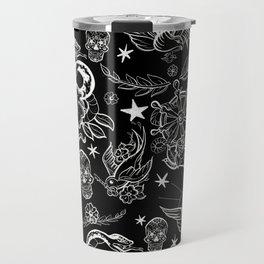 Black and White Inked Alternative Flash Pattern Travel Mug