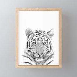 Black and white tiger Framed Mini Art Print