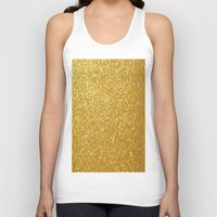 gold glitter Tank Tops featuring GOLD GLITTER by I Love Decor