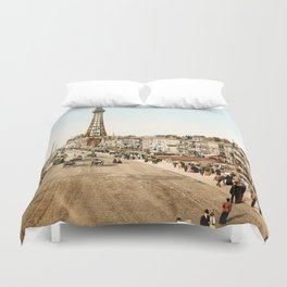 The Promenade at Blackpool, Lancashire, England 1898 Duvet Cover