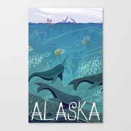 Alaska State Poster Canvas Print