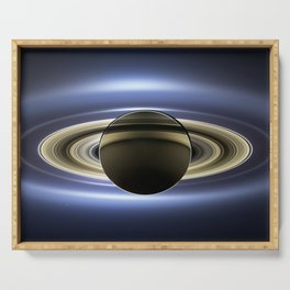 The Planet Saturn passing in front of the Sun Serving Tray