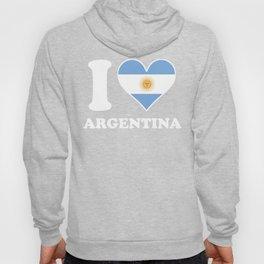 I Love Argentina Argentinian Flag Heart Hoody