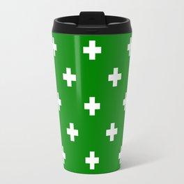 Swiss cross pattern on green Travel Mug