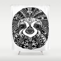 sloth Shower Curtains featuring Sloth by Emma Barker