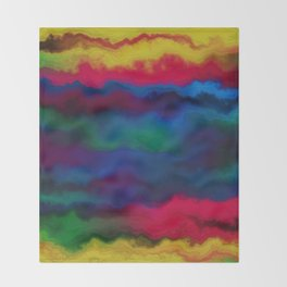 Abstract yellow pink navy blue watercolor ombre pattern Throw Blanket