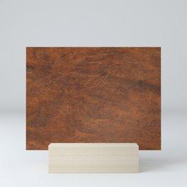 Old Tan Leather Print Texture   Cowhide Mini Art Print