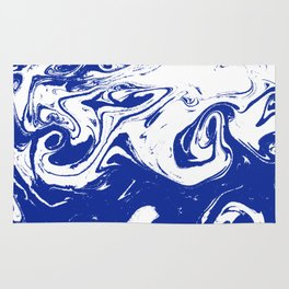Marble blue 4 Suminagashi watercolor pattern art pisces water wave ocean minimal design Rug