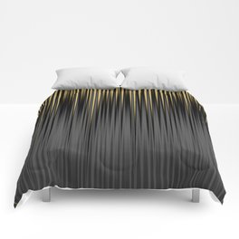 Modern Yellow and Black Jagged Ribbed Stripe Pattern Comforters