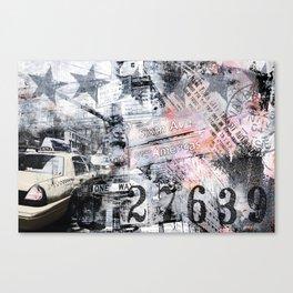 New York  street mixed media art Canvas Print