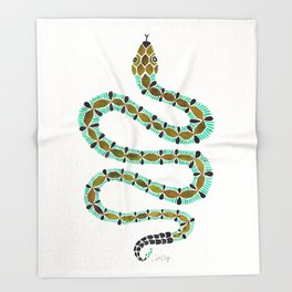 Turquoise Serpent Throw Blanket