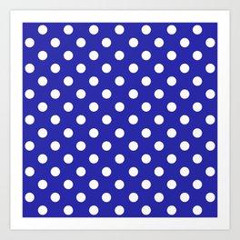 Polka Dots (White & Navy Pattern) Art Print