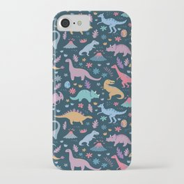 Dinosaur + Flowers Pattern iPhone Case