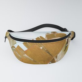 Banana tree leaves with blue sky Fanny Pack
