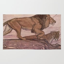 Vintage Lion Painting (1909) Rug