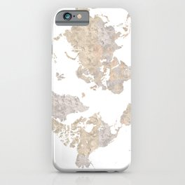 Wanderlust watercolor world map with compass rose iPhone Case