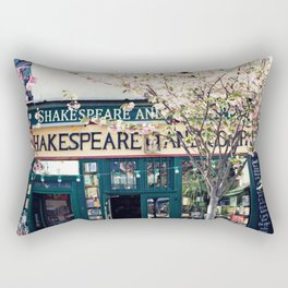 Cherry blossoms in Paris, Shakespeare & Co. Rectangular Pillow