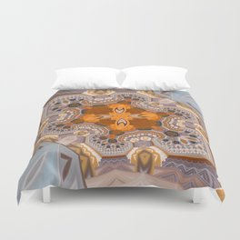 Abstract autumn with artistic mushrooms Duvet Cover