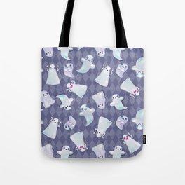 Cute Halloween Kawaii Ghost Pattern on Blue Tote Bag