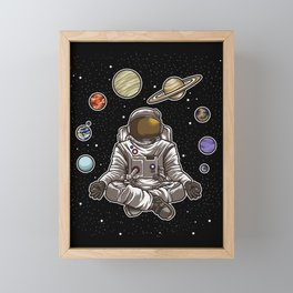 Yoga Astronaut Meditates In Space And feels The Galaxy Framed Mini Art Print