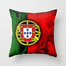circuit board Portugal (Flag) Throw Pillow