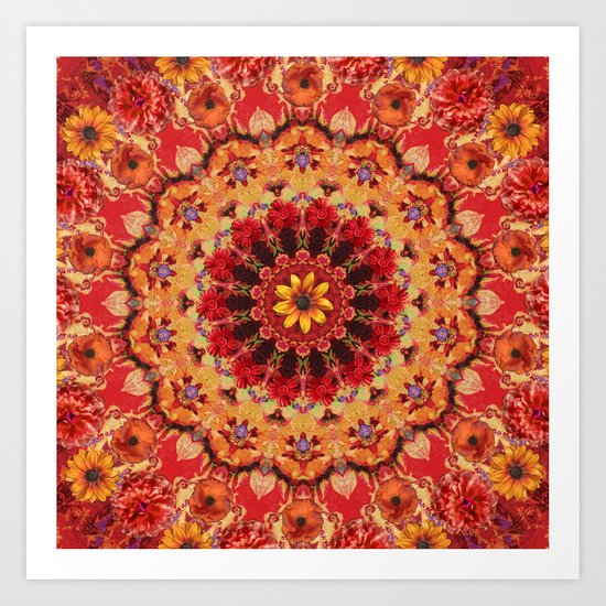Red Kaleidoscope with Flowers Art Print