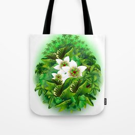 Passion Flowers on Tropical Jungle Tote Bag