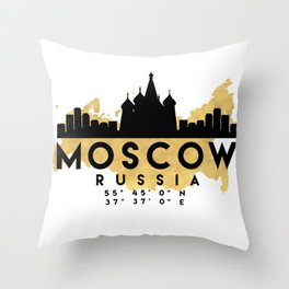 MOSCOW RUSSIA SILHOUETTE SKYLINE MAP ART Throw Pillow