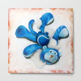 Loved to Pieces Blue Monkey Dog Toy Metal Print