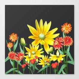 Bright At Midnight Floral Canvas Print