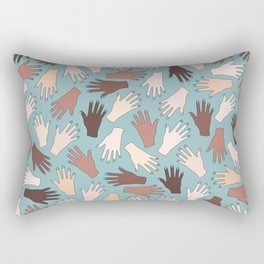 Nail Expert Studio - Colorful Manicured Hands Pattern Rectangular Pillow