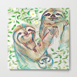 Sloth Family Metal Print