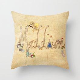 Maddison / Personalised Name Illustration Throw Pillow