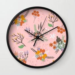 Fall Floral Pattern Wall Clock