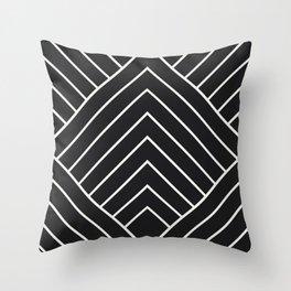 Diamond Series Pyramid White on Charcoal Throw Pillow