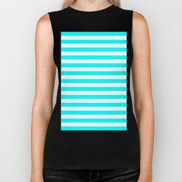 Horizontal Stripes (Aqua Cyan/White) Biker Tank
