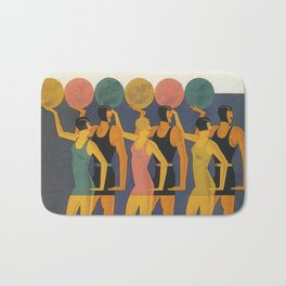 Art Deco Swimwear and Beach Balls Vintage Poster Bath Mat