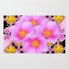 Asymmetrical Black-Pink Wild Rose Floral Pattern Rug