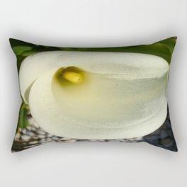 Overhead Shot of A Cream Calla Lily In Soft Focus Rectangular Pillow