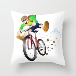 Mountain biker racing down the slope Throw Pillow