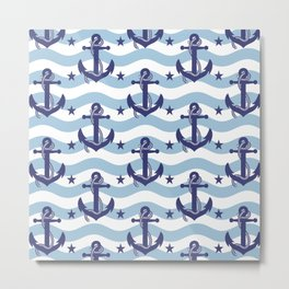 Sailor Stripes and Anchor Pattern Light Blue 10 Metal Print