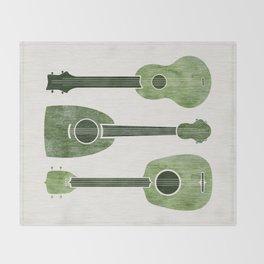 Hawaiian Ukuleles - Emerald Green Throw Blanket