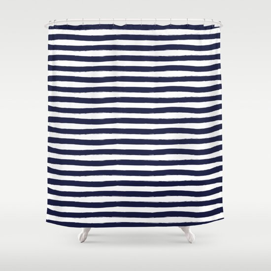 Navy Blue And White Horizontal Stripes Shower Curtain By